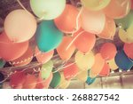colorful balloons floating on... | Shutterstock . vector #268827542