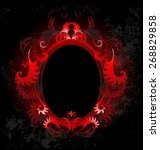 patterned  red  oval banner on...   Shutterstock .eps vector #268829858