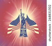 statue of liberty and usa flag | Shutterstock . vector #268831502