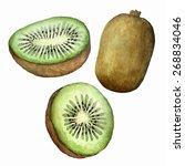 vector watercolor kiwi set.... | Shutterstock .eps vector #268834046