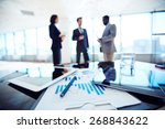 paper with business data and... | Shutterstock . vector #268843622