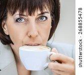 beautiful businesswoman in... | Shutterstock . vector #268855478