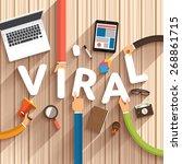 flat design talking about... | Shutterstock .eps vector #268861715