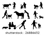 children playing with animals... | Shutterstock .eps vector #26886652