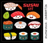 sushi vector set. sushi cartoon ... | Shutterstock .eps vector #268889726
