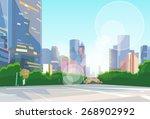 city street skyscraper view... | Shutterstock .eps vector #268902992