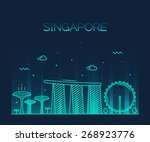 singapore city skyline detailed ...   Shutterstock .eps vector #268923776