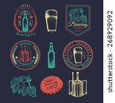 old brewery logos set. kraft... | Shutterstock .eps vector #268929092