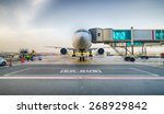 jet aircraft docked in dubai... | Shutterstock . vector #268929842