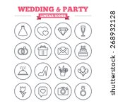 wedding and party linear icons... | Shutterstock .eps vector #268932128