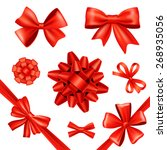 red silk gift bows and... | Shutterstock .eps vector #268935056