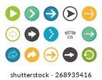 arrow button set. simple circle ... | Shutterstock .eps vector #268935416