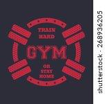 round vintage gym t shirt... | Shutterstock .eps vector #268936205