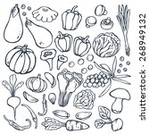 freehand drawing vegetables on... | Shutterstock .eps vector #268949132