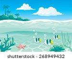 underwater life background with ... | Shutterstock .eps vector #268949432
