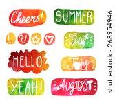 cute summer watercolor... | Shutterstock .eps vector #268954946
