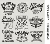 varsity college vector label... | Shutterstock .eps vector #268955228