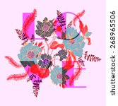 card with set of decorative ... | Shutterstock .eps vector #268965506