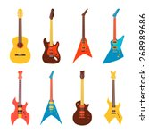 acoustic and electric guitars... | Shutterstock .eps vector #268989686