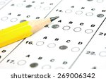 a pencil sitting on a test... | Shutterstock . vector #269006342