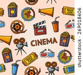 Постер, плакат: Seamless cinema handdrawn pattern
