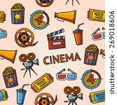 seamless cinema handdrawn... | Shutterstock .eps vector #269018606