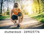 young sportive woman getting... | Shutterstock . vector #269025776