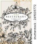 vintage floral card. frame with ... | Shutterstock .eps vector #269035772