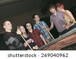 some friends play snooker in a... | Shutterstock . vector #269040962