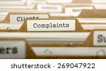 Stock photo complaints concept word on folder register of card index selective focus 269047922