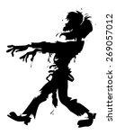 walking zombie silhouette   Shutterstock .eps vector #269057012