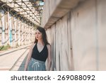beautiful young brunette with... | Shutterstock . vector #269088092