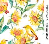 Watercolor Pattern. Tropical...