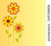 flowers vectors on yellow...   Shutterstock .eps vector #269148806
