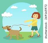Stock vector a cute little girl doing dog walking in sunny day in garden 269165972