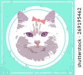 vector vintage cat with bow   Shutterstock .eps vector #269195462