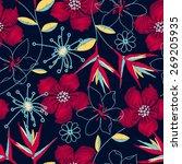 hibiscus tropical woven... | Shutterstock .eps vector #269205935