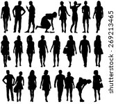 black silhouettes of beautiful... | Shutterstock . vector #269213465