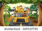 animals riding on a zoo bus | Shutterstock .eps vector #269219735