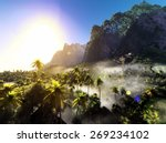 beautiful rainforest with palm... | Shutterstock . vector #269234102