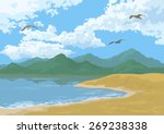 sea landscape with mountains ... | Shutterstock . vector #269238338