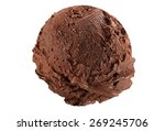 Stock photo scoop of dark chocolate ice cream on white background 269245706