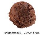 Stock photo scoop of dark chocolate ice cream on white background 269245706