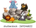 animals in the zoo sitting on... | Shutterstock .eps vector #269246822