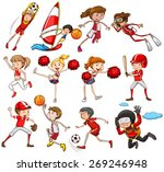 set of sports in red theme | Shutterstock .eps vector #269246948