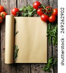 open recipe book with fresh... | Shutterstock . vector #269262902