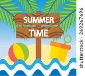 summer time beach vector...   Shutterstock .eps vector #269267696