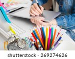 young woman artist in jeans... | Shutterstock . vector #269274626
