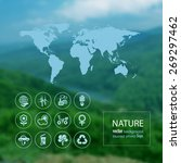 ecology icon set and map on the ... | Shutterstock .eps vector #269297462