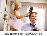 daughter helps father to get... | Shutterstock . vector #269300438